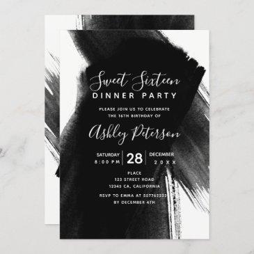 black white brushstrokes typography sweet 16 invitation