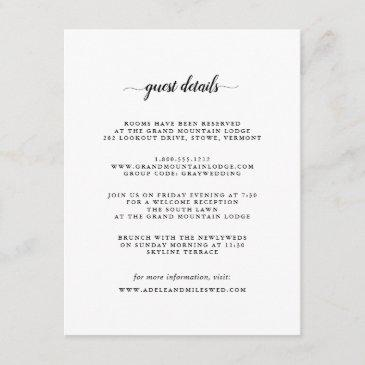 black & white calligraphy guest details