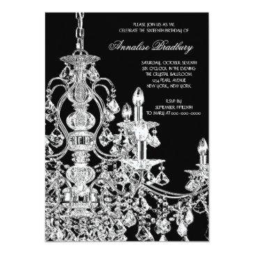 Small Black White Chandelier Sweet 16 Party Invitations Back View