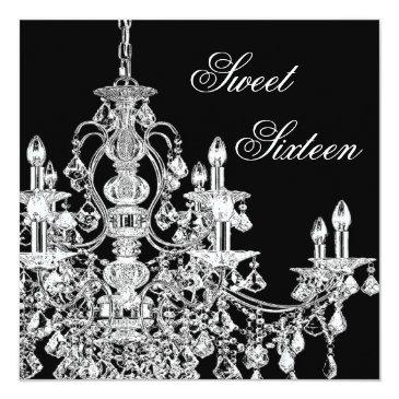 Small Black White Chandelier Sweet 16 Party Invitations Front View