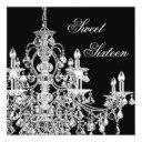 black white chandelier sweet 16 party invitation