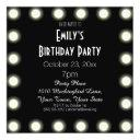 black & white hollywood theme birthday party invitations