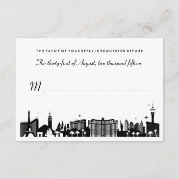 black & white las vegas skyline wedding rsvp