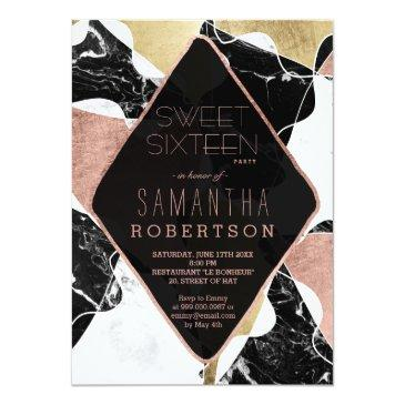 Small Black White Marble Rose Gold Block Chic Sweet 16 Invitations Front View