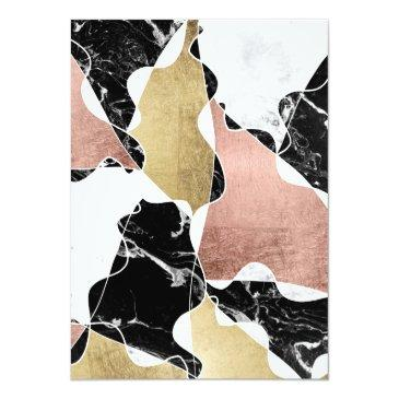 Small Black White Marble Rose Gold Block Chic Sweet 16 Invitations Back View
