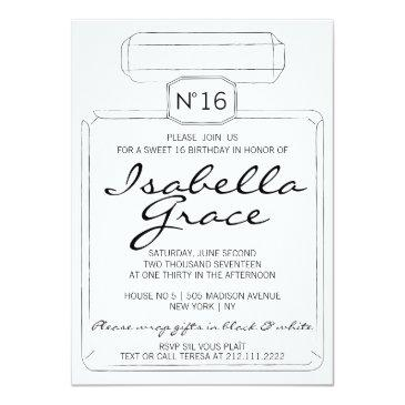 Small Black & White Paris Theme Sweet Sixteen 16 Party Invitations Front View