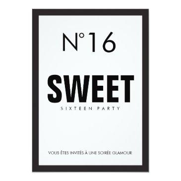 Small Black & White Paris Theme Sweet Sixteen 16 Party Invitations Back View