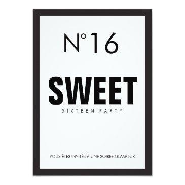 black & white paris theme sweet sixteen 16 party invitation