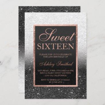 black white rose gold glitter elegant sweet 16 invitation