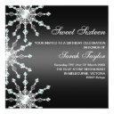 black & white shimmer snowflake birthday invite