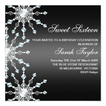 Small Black & White Shimmer Snowflake Birthday Invite Front View