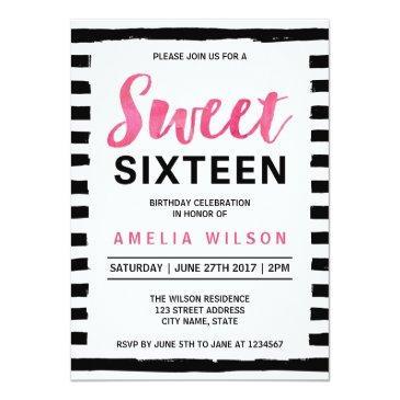 Small Black & White Stripes Sweet 16 Birthday Invitation Front View