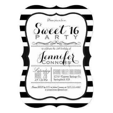 Small Black & White Stripes Sweet 16 Party Invitation Front View