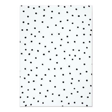 Small Black White Watercolor Polka Dots Sweet Sixteen Invitations Back View