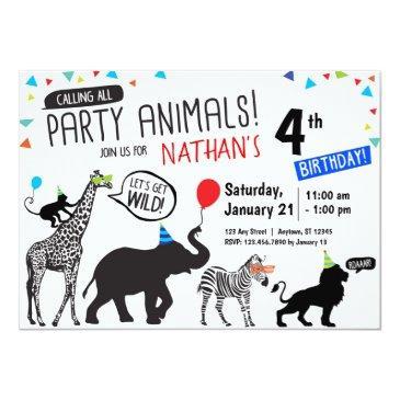 black white wild party animal birthday invitations