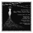 black with silver glitter sweet 16 invitation
