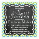blue and lime chevron chalkboard sweet 16 party invitation
