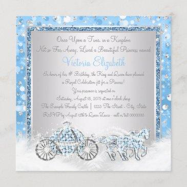 blue and silver cinderella princess birthday party invitation