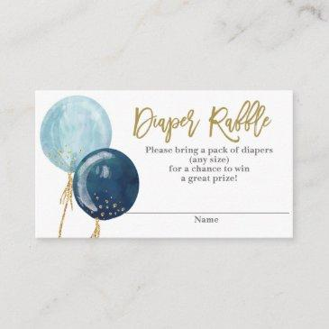 blue balloons diaper raffle enclosure invitations