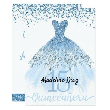 blue cinderella quinceanera birthday invitation