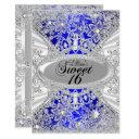blue diamond snowflake winter wonderland sweet 16 invitations