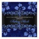 blue faux glitter & velvet floral sweet sixteen invitation