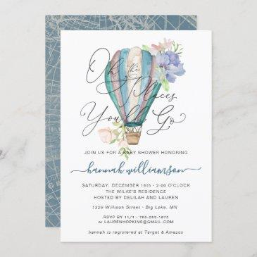 blue floral hot air balloon baby shower invitation