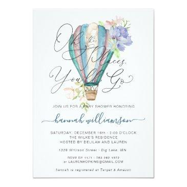 Small Blue Floral Hot Air Balloon Baby Shower Invitation Front View