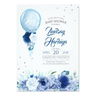 Small Blue Floral Silver Glitter Balloon Baby Shower Invitation Front View