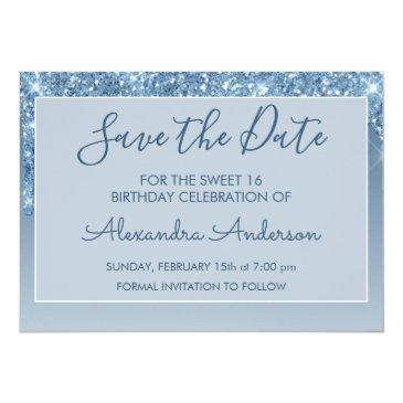 Small Blue Glitter Sweet 16 Save The Date Invitation Back View