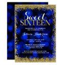 blue gold faux glitter lights sweet 16 birthday invitation
