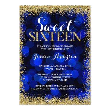 Small Blue Gold Faux Glitter Lights Sweet 16 Birthday Invitation Front View