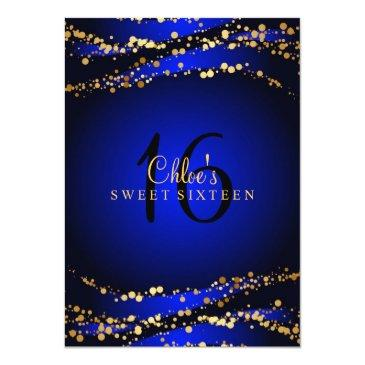 Small Blue & Gold Stardust Sweet 16 Invitations Front View