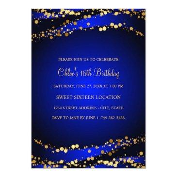 Small Blue & Gold Stardust Sweet 16 Invitations Back View