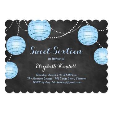 Small Blue Lanterns On Chalk Sweet Sixteen Invitation Front View