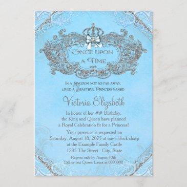 blue once upon a time princess birthday invitation