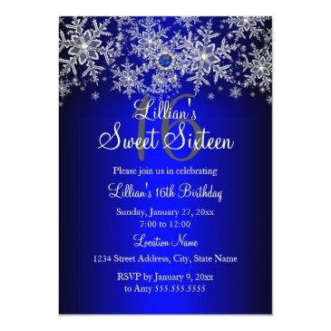 Small Blue Pearl Silver Snowflake Sweet 16 Invitations Front View