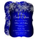 blue pearl silver snowflake sweet 16 invitations