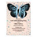 blue pink butterfly glitter confetti sweet 16 invitation