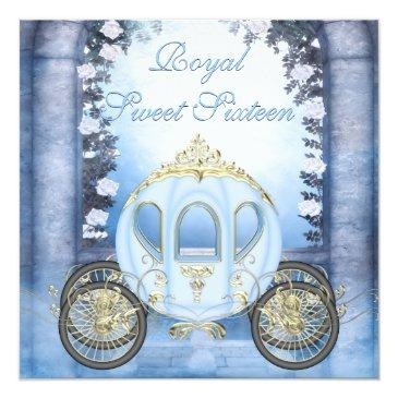 Small Blue Princess Carriage Enchanted Sweet 16 Invitations Front View