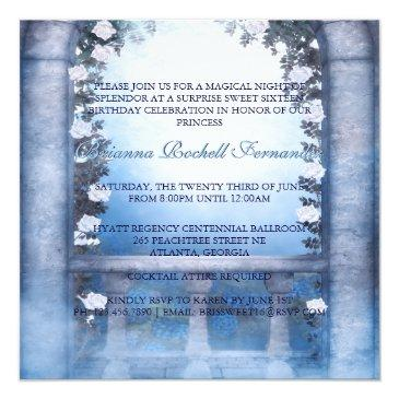 Small Blue Princess Carriage Enchanted Sweet 16 Invitations Back View