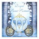 blue princess carriage enchanted sweet 16 invitation