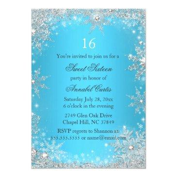 Small Blue Princess Winter Wonderland Sweet 16 Invite Back View
