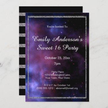 blue purple galaxy silver sweet 16 birthday invitation