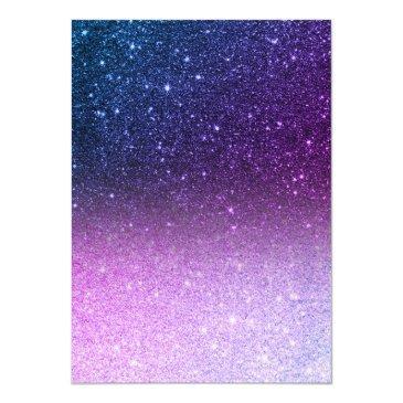 Small Blue Purple Ombre Glitter Elegant Chic Sweet 16 Invitation Back View