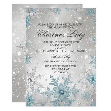 blue & silver crystal snowflake christmas party invitations