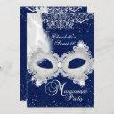 blue silver damask mask masquerade sweet 16 invite