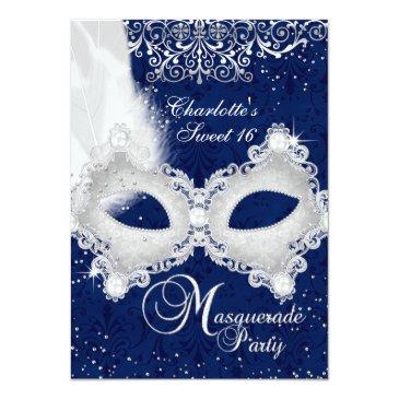 Small Blue Silver Damask Mask Masquerade Sweet 16 Invite Front View