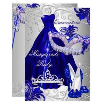 blue silver dress masquerade quinceanera invite