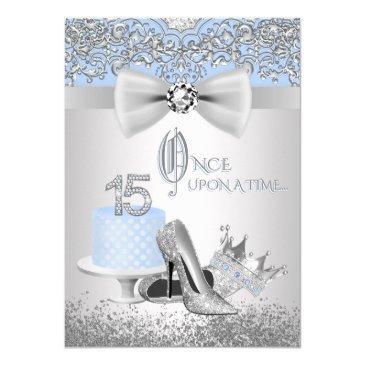 blue silver quinceanera princess invitations